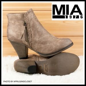 ANKLE BOOTIES CHUNKY BLOCK HEEL WESTERN BOOTS A2C